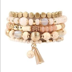 Natural multi beads stretch bracelet. Set of 5